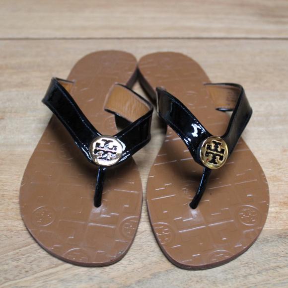 98174b39465d Tory Burch Thora Sandal Black Patent Leather 7. M 5bf1b1ceaa8770e7625c743b